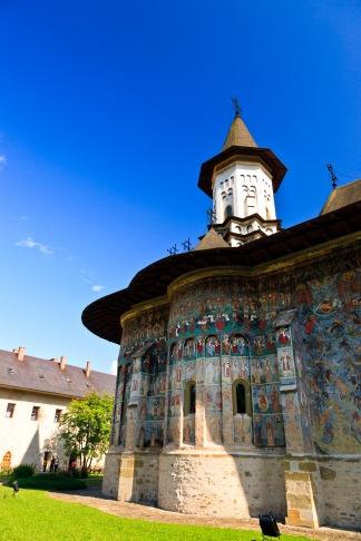 Church exterior, Manastirea Sucevita, Bucovina, Romania.