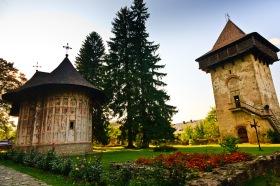 Interior courtyard, Manastirea Humorul, Bucovina, Romania.