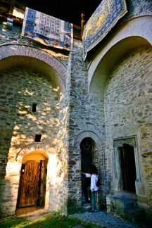 Manastirea Dragomirna, Bucovina, Romania. Ligia enters the fortified walls by one of the doorways.