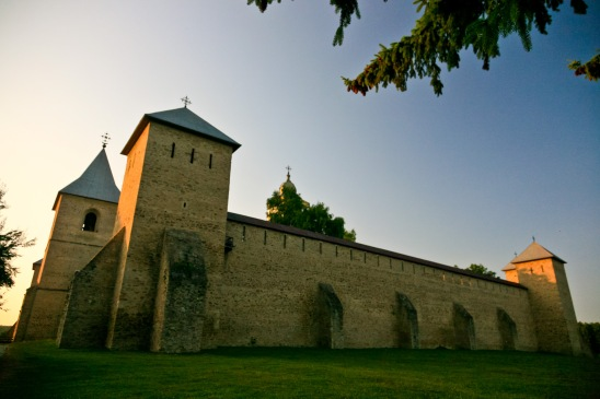 Outside the fortified walls, Manastirea Dragomirna, Bucovina, Romania.