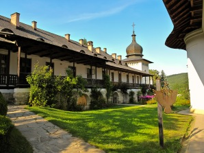 Cloisters, Manastirea Sihastria, Moldova, Romania.