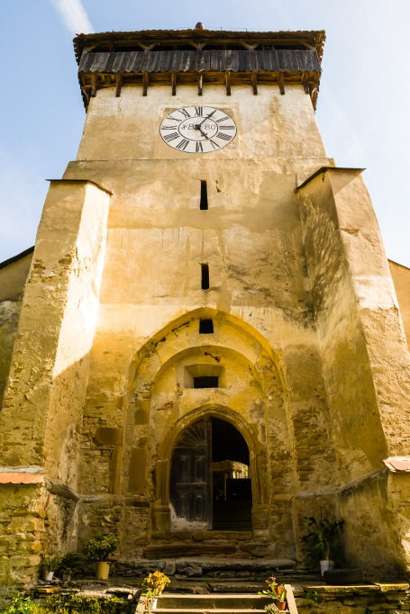 Clock tower of the fortified church in Copsa Mare, Transilvania, Romania.