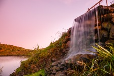 Evening falls on a waterfall