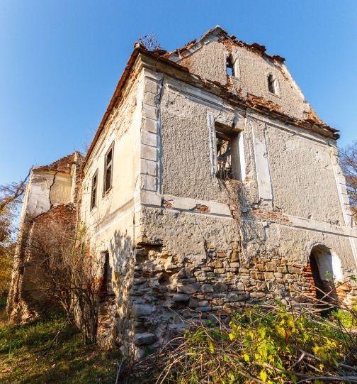 The ruins of the Castle Bolyai in the village of Buia, Transilvania, Romania