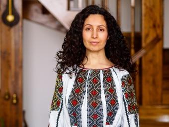 Ligia wearing traditional Romanian garb