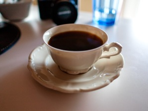 The antique bone china cup and saucer are a gift from Ligia