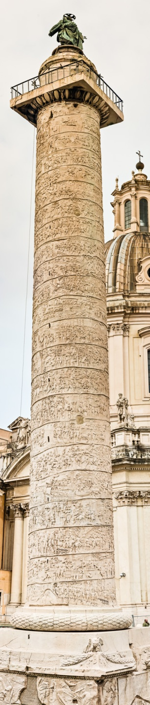 A vertical panorama of Trajan's Column, Rome, Italy. The original file is 55 megapixels in size.