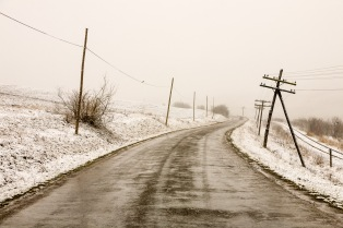Driving on a wintry road