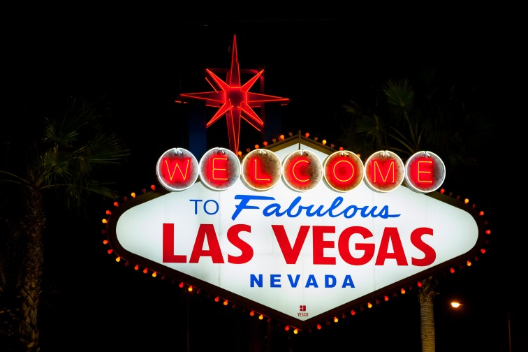The famous Las Vegas welcome sign, Las Vegas, NV, USA