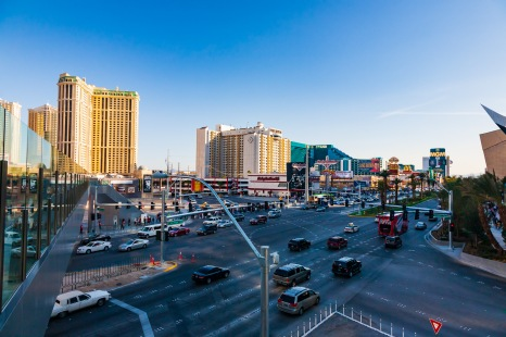 A large intersection on the Strip, Las Vegas, NV, USA