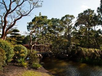 Bridge over lake, Morikami Museum and Japanese Gardens, Delray Beach, FL, USA.