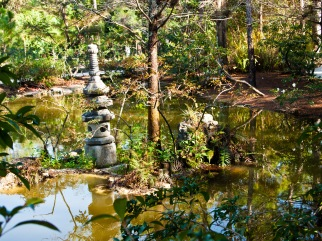 Island in the middle of a pond, Morikami Museum and Japanese Gardens, Delray Beach, FL, USA.