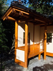 Wonderful wooden bench, Morikami Museum and Japanese Gardens, Delray Beach, FL, USA.