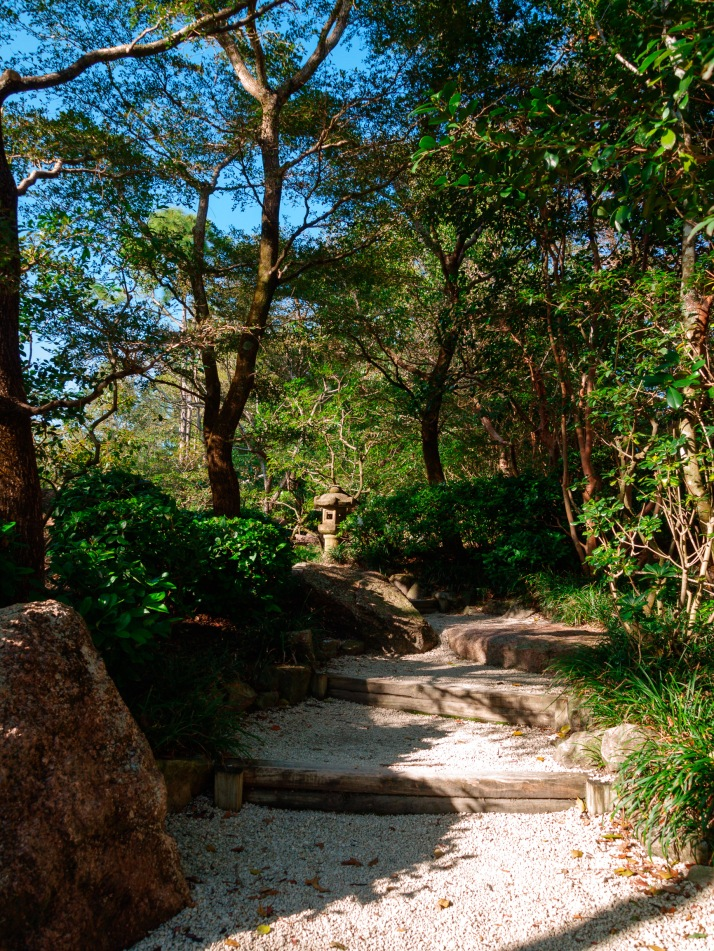 Pathway and stairs, Morikami Museum and Japanese Gardens, Delray Beach, FL, USA.