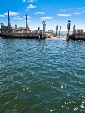 Stone island with statues, Vizcaya, Miami, Florida, USA.