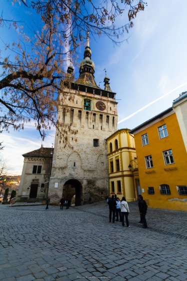 Evening in the medieval city of Sighisoara, in Transilvania, Romania