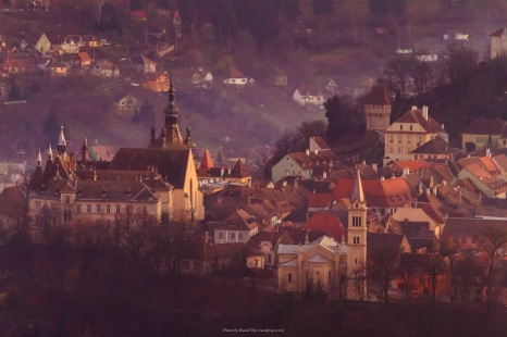Evening fog begins to envelop Sighisoara
