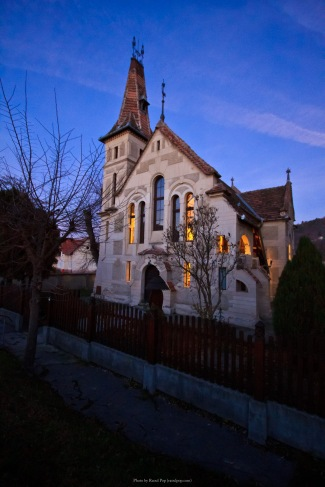 A lovely little reformed church in Sighisoara, Romania, at twilight.